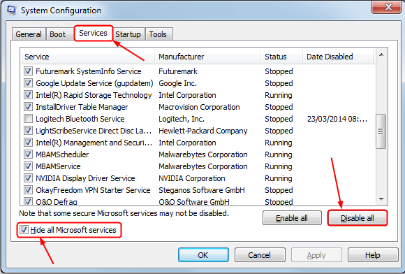 Disable or Uninstall Third-Party Applications